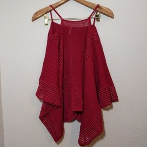 Free people open knit top red M